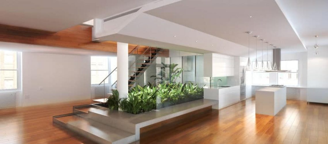 23181049 - empty room of residence with an atrium center and hardwood floors